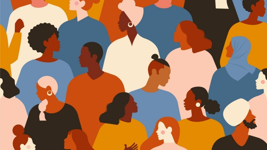 An illustration of people from diverse racial backgrounds. Image by Lyubov Ivanova / Getty Images