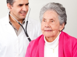 Old, woman, check up, cardiologist, doctor, elder, geriatric, medicine, medical, health, healthcare, medic, doc, physician, practitioner, GP, ER, specialist, consult, elderly, cardio, stethoscope, female, lady, people, person, man, male, guy, Latin, Latinamerican, Hispanic, professional, occupation, sick, disease, hospital, clinic, clinical, lifestyle, older, grandma, robe
