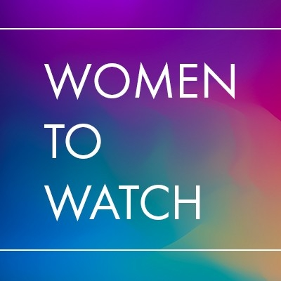 The words Women to Watch over a brightly colored background