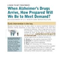 تهافتٌ للحصول على العلاج: إلى أيّ حدٍّ سنكون جاهزين لتلبية الطلب لدى وصول أدوية علاج مرض الزهايمر؟ تقييمٌ لبنية الرعاية الصحّيّة التحتيّة الأمريكيّة