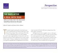الأيام التي تلي الاتفاق مع إيران: التداعيات على نظام منع الانتشار النووي