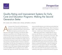 نُظُم تقدير الجودة وتحسينها في برامج الرعاية والتربية في مرحلة الطفولة المبكرة: جَعْلُ الجيل الثاني أفضل
