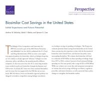 وفورات تكلفة البدائل الحيوية في الولايات المتحدة: التجربة الأولية والإمكانات المستقبلية