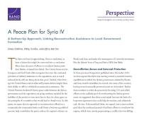 خطّة سلام لسوريا الجزءIV : مقاربة تنطلق من القاعدة نحو الأعلى، تربط المساعدة في إعادة الإعمار بتشكيل الحكومة المحليّة