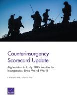 تحديث سجل أداء مكافحة التمرد: أفغانستان في مطلع عام 2015 بالمقارنة مع حركات التمرد منذ الحرب العالمية الثانية