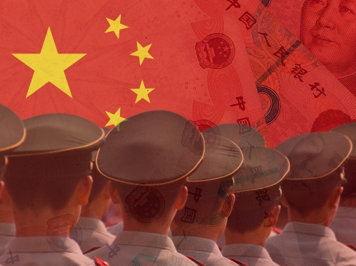 Chinese flag, yuan, and soldiers, image design by Katherine Wu/RAND Corporation; photos by Dmytro and Mike/Adobe Stock
