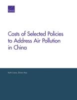 تكاليف السياسات المختارة لمعالجة تلوث الهواء في الصين